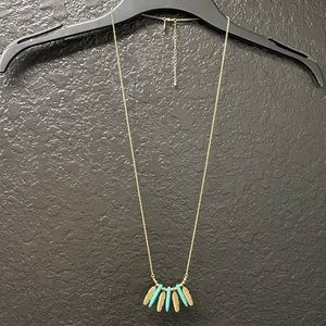 Turquoise Gold Feather Long Necklace Bethany Mota